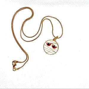 Gold Plated, Mummy Halloween Necklace! NIP!